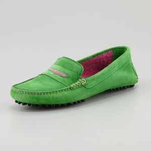 Manolo Blahnik Terry-Trimmed Suede Driving Loafer